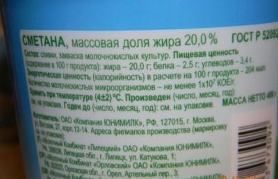Сметана: состав продукта и срок хранения